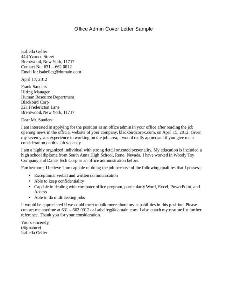 Projects Inspiration Office Manager Cover Letter 12 Sample - CV ...