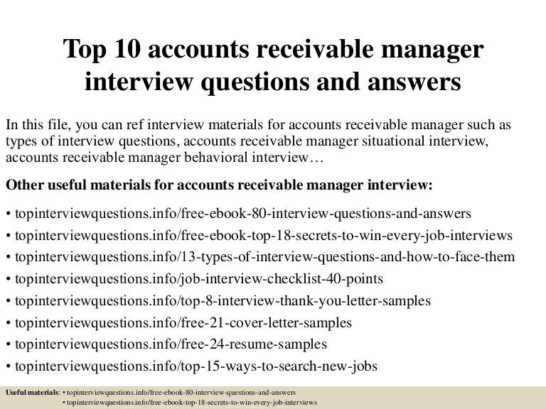 Top10 accounts receivable manager interview questions and answers