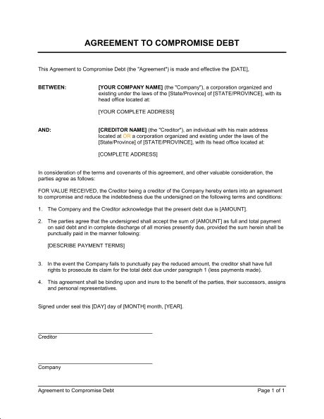 Agreement to Compromise Debt - Template & Sample Form | Biztree.com