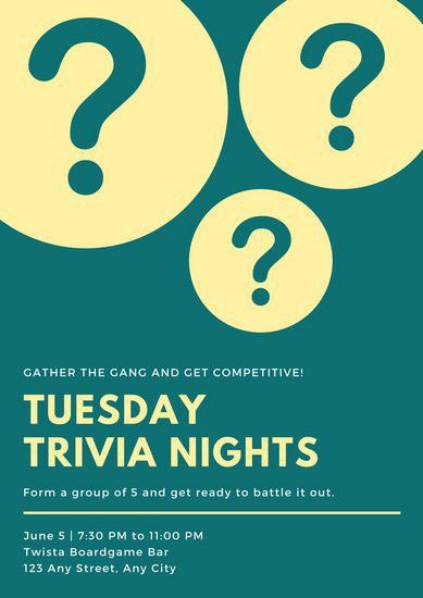 Teal and Yellow Vector Trivia Night Poster - Templates by Canva
