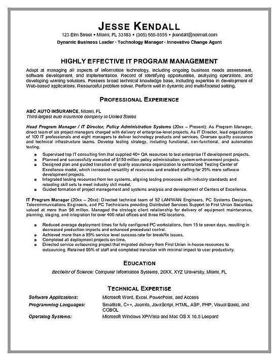 Technical Program Manager Resume Sample, Technical Writer ...
