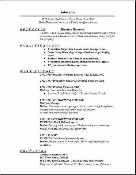 Simple Resume for Machine Operator Job Descriptions ...