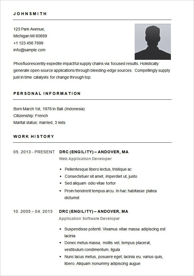 Best 5+ Free Professional Simple Resume Template Word Download Doc