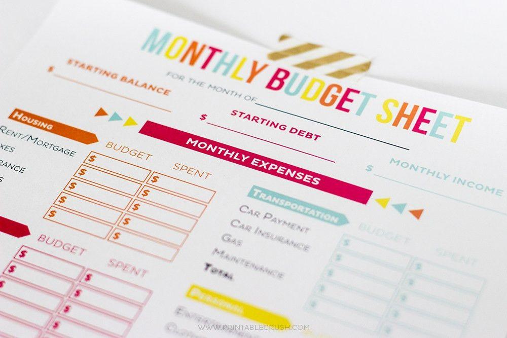 FREE Printable Budget Sheets - Printable Crush