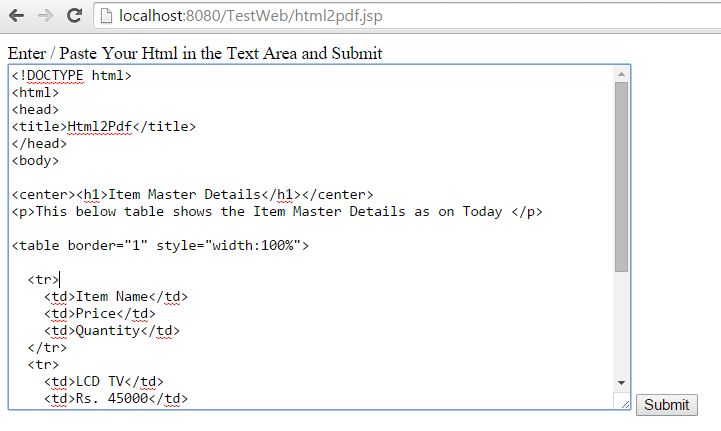 Java Servlet code to convert Html to PDF using iTextRenderer ...