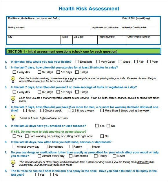 Sample Health Risk Assessment - 9+ Documents in PDF