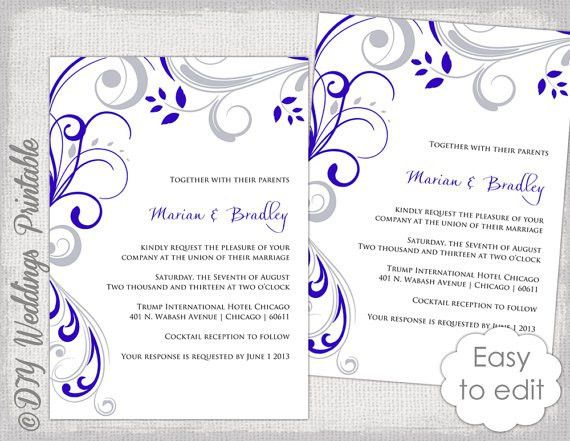 Wedding invitation template Silver gray and royal blue
