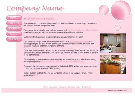 Free residential cleaning website layout template