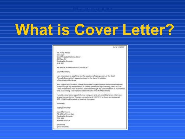 Cover Letter Definition. The Cover Letter What Why How - Ppt ...