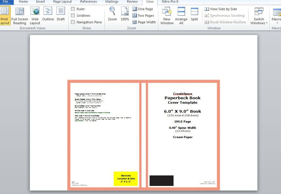 How to make a full print book cover in Microsoft Word for ...