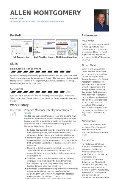 Program Manager Resume samples - VisualCV resume samples database