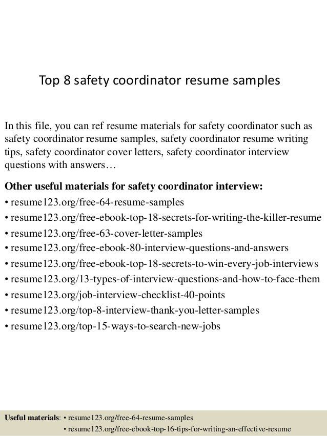 safety coordinator resume coordinator resume example top 8