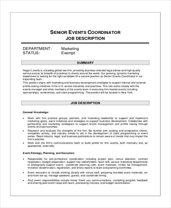 Great Sample Event Coordinator Job Description   10+ Examples In PDF