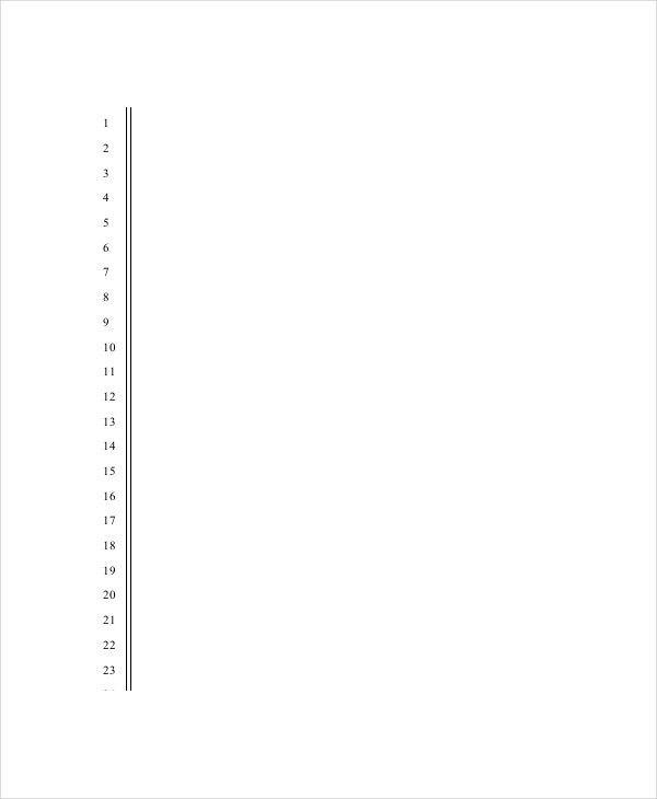Lined Paper Template. Numbered Lined Paper Template Lined Paper ...