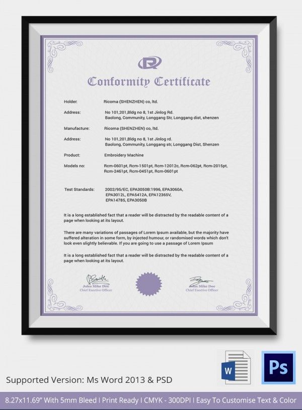 Certificate Of Conformance Template. Choose A Template And Start ...