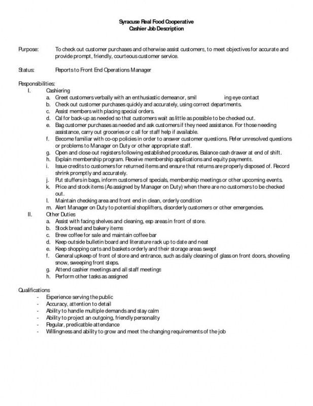 Cashier Job Description. Accounting Clerk Resume, Sample, Example ...