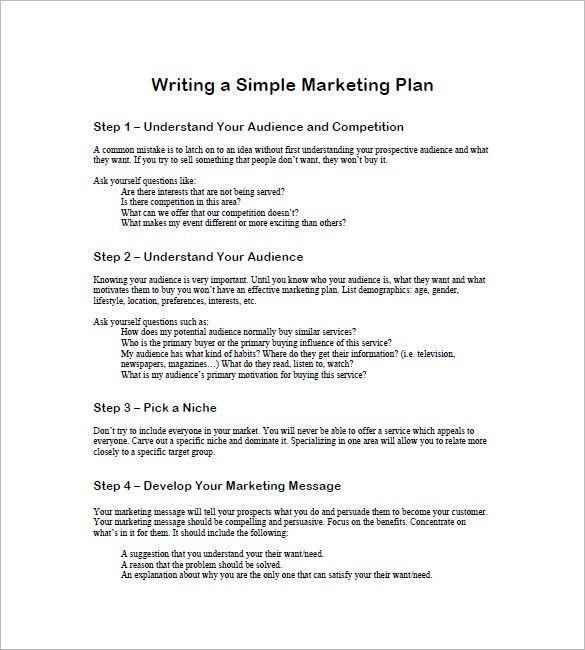 Simple Marketing Plan Template – 12+ Free Sample, Example, Format ...