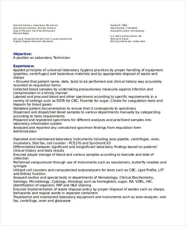 Lab Technician Resume Template - 7+ Free Word, PDF Document ...