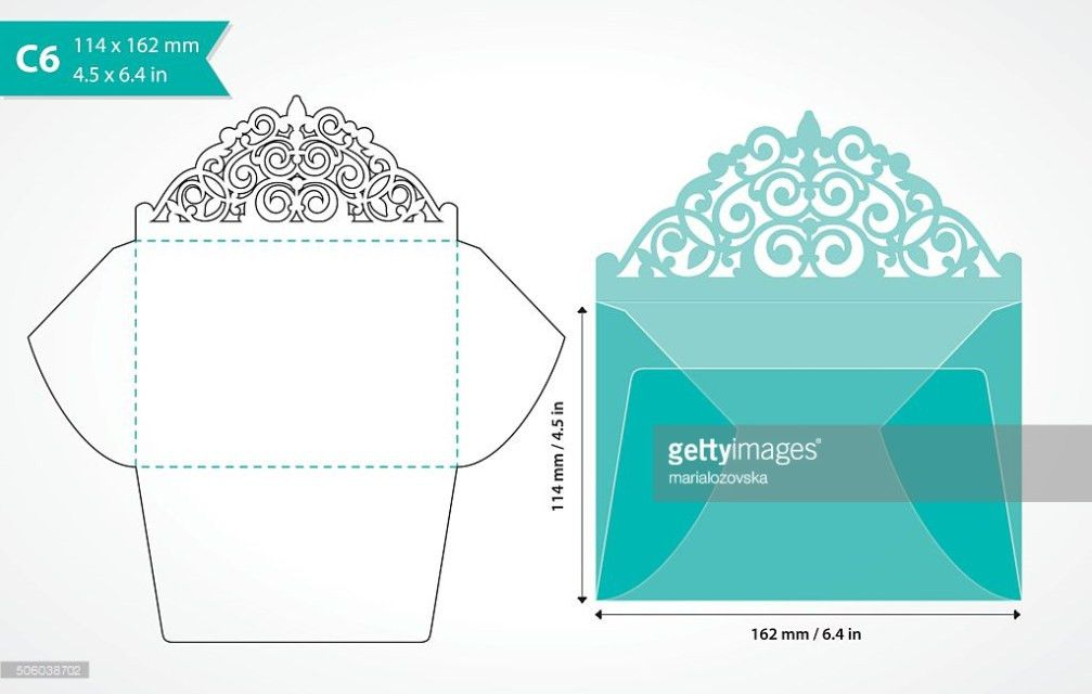 Die Cut Envelope Template With Swirly Flap Vector Art   Thinkstock