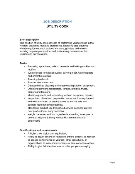 Utility Cook Job Description - Template & Sample Form | Biztree.com