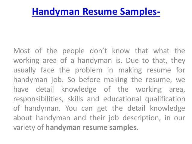 handyman resume samples. full size of resumesample cv template ...