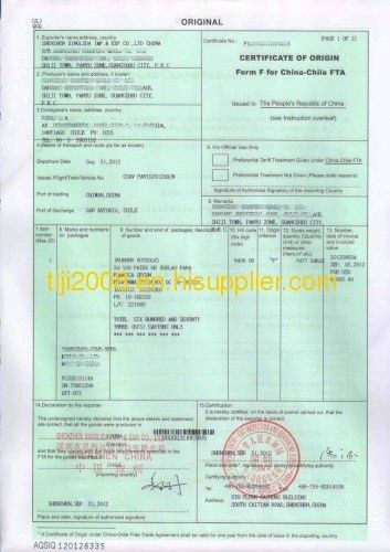 CERTIFICATE OF ORIGIN Form F for China-Chile FTA from China ...