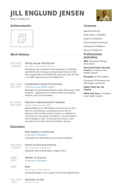 Family Nurse Practitioner Resume samples - VisualCV resume samples ...