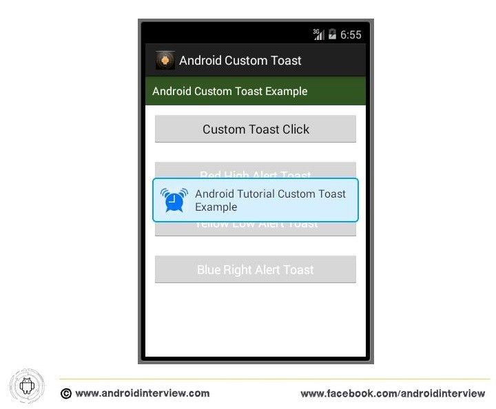 Android Toast - Creating a Android Custom Toast Example