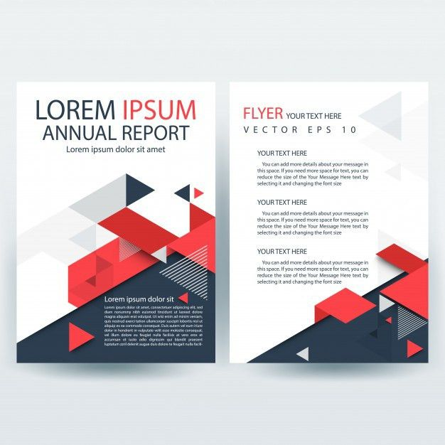 Red and Gray Creative Report Cover Template with Geometric Shapes ...