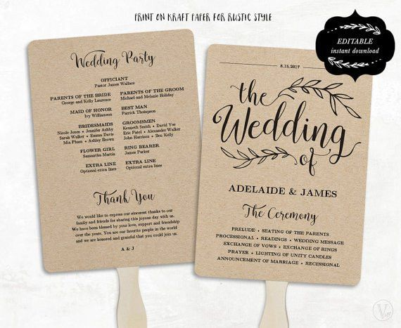 This is an INSTANT DOWNLOAD printable wedding program template ...