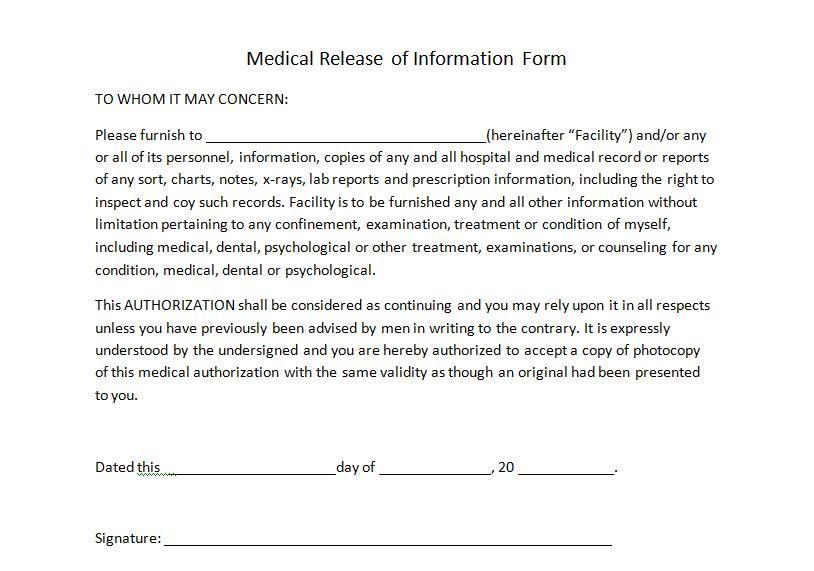 Medical Release Forms | Templates in Word and PDF Format ...