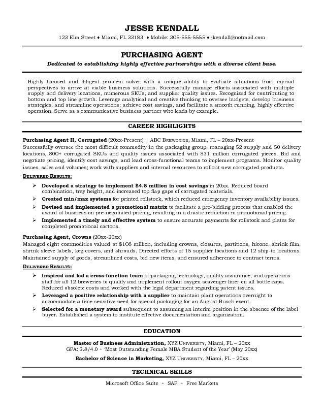 purchasing resume sample resume example purchasing manager free