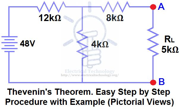 Thevenin's Theorem. Step by Step Procedure with Example