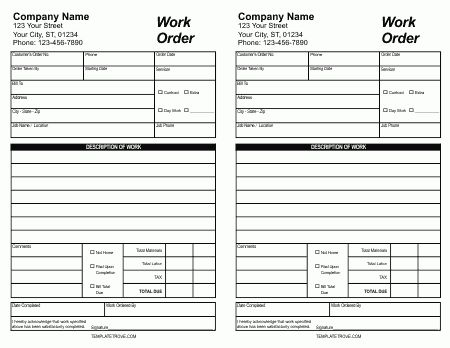 30+ Work Order Template For Free Download And Use!!