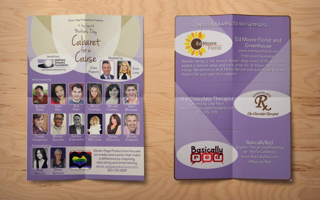 Event Poster & Sponsor Sheet: Cabaret for a Cause - Stevie Caldarola
