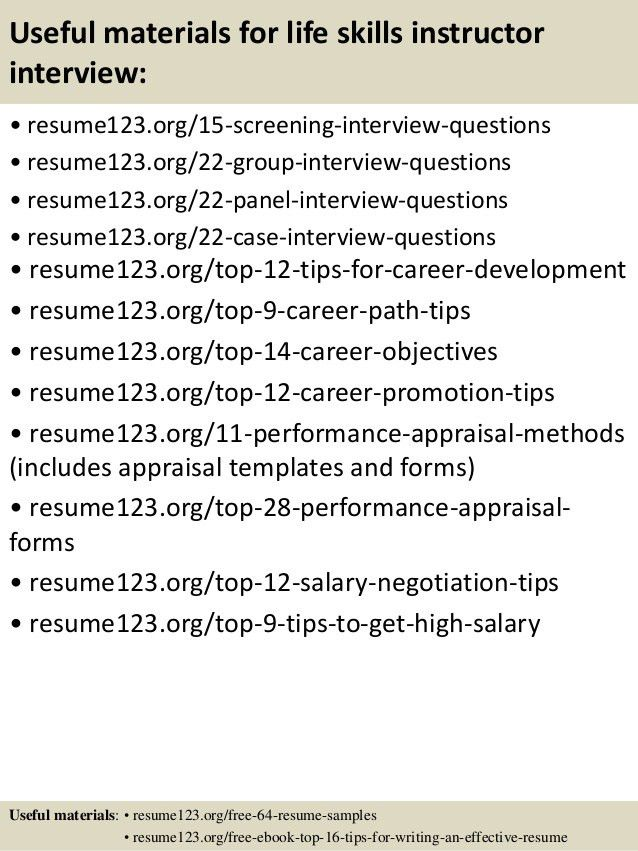 Top 8 life skills instructor resume samples