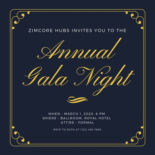 Dark Blue & Gold Simple Elegant Gala Invitation - Templates by Canva