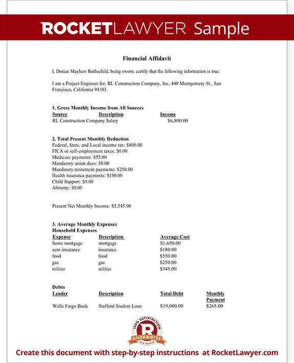 Financial Affidavit Form - Financial Disclosure Affidavit Sample
