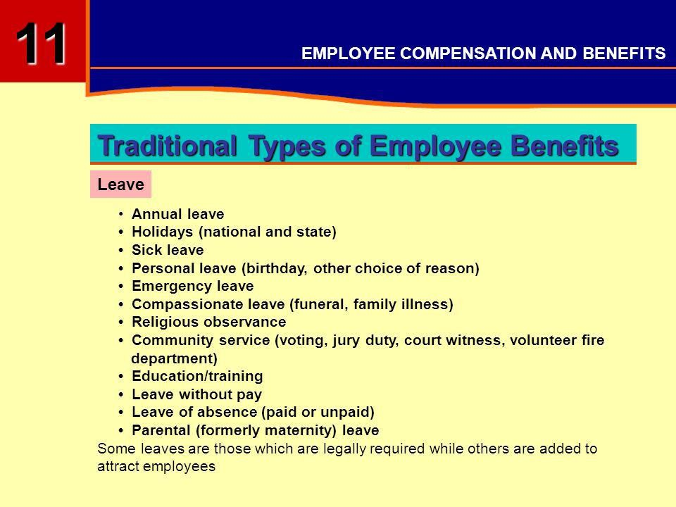 EMPLOYEE COMPENSATION AND BENEFITS OBJECTIVES Understand ...