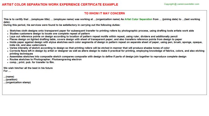 Artist Color Separation Work Experience Certificate