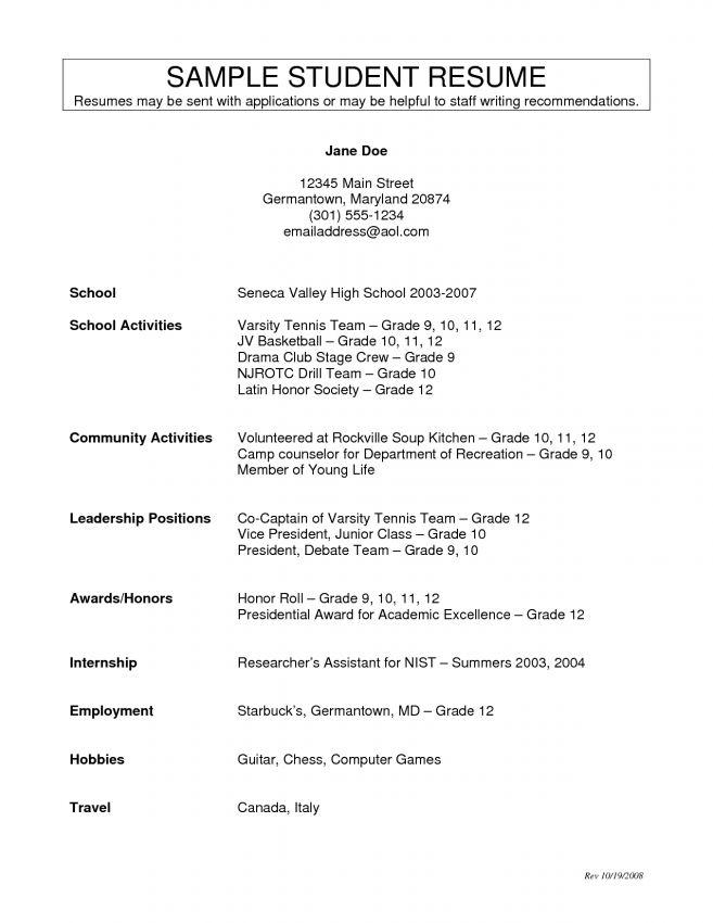 resume activities for high school students