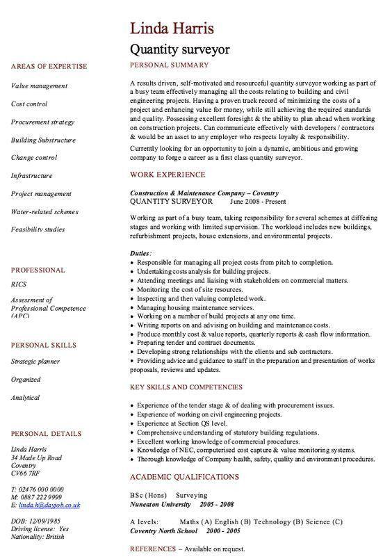 quantity surveyor resume quantity surveyor resume samples