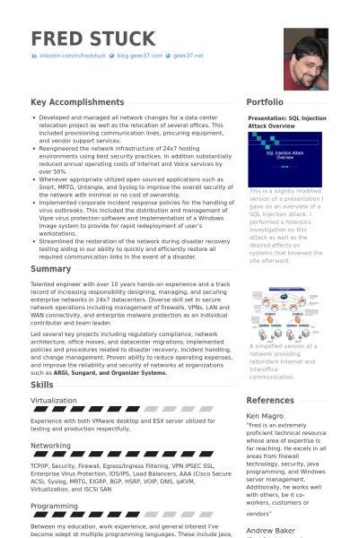 Network Security Engineer Resume samples - VisualCV resume samples ...