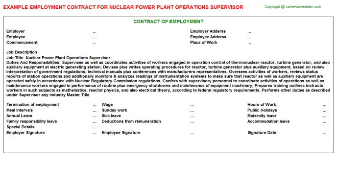 Nuclear Power Plant Operations Supervisor Job Title Docs