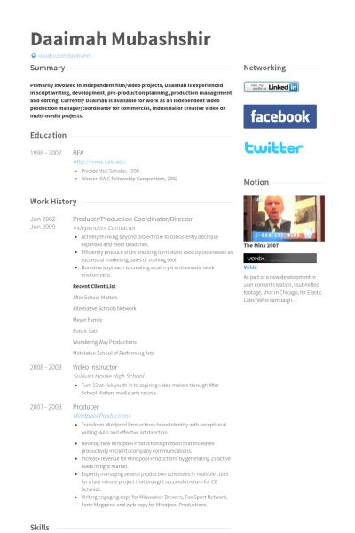 Production Coordinator Resume samples - VisualCV resume samples ...
