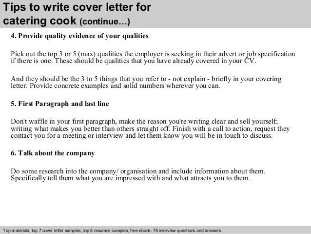 Catering cook cover letter
