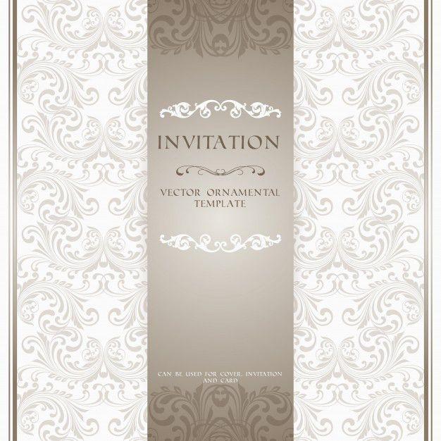 Light beige ornamental pattern invitation card or album cover ...
