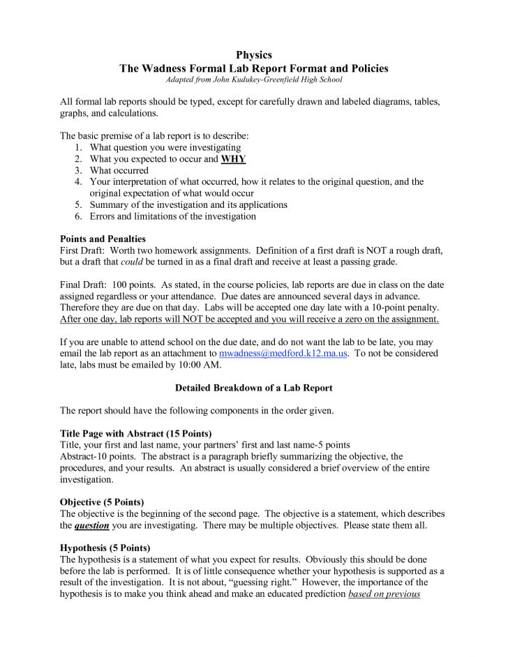 Formal Lab Report Example 10 Laboratory Report Templates Free – Lab Report Template