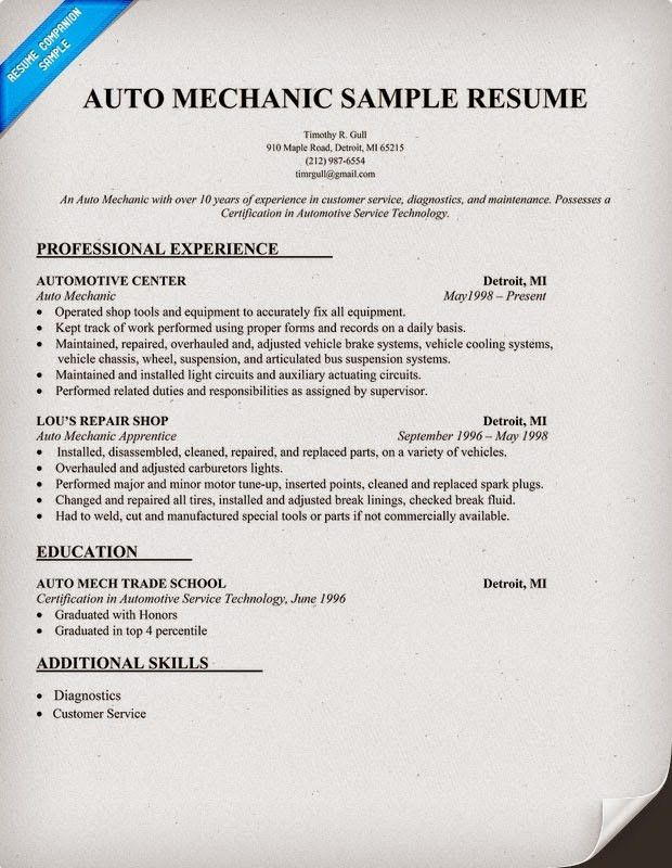 mechanic sample resume