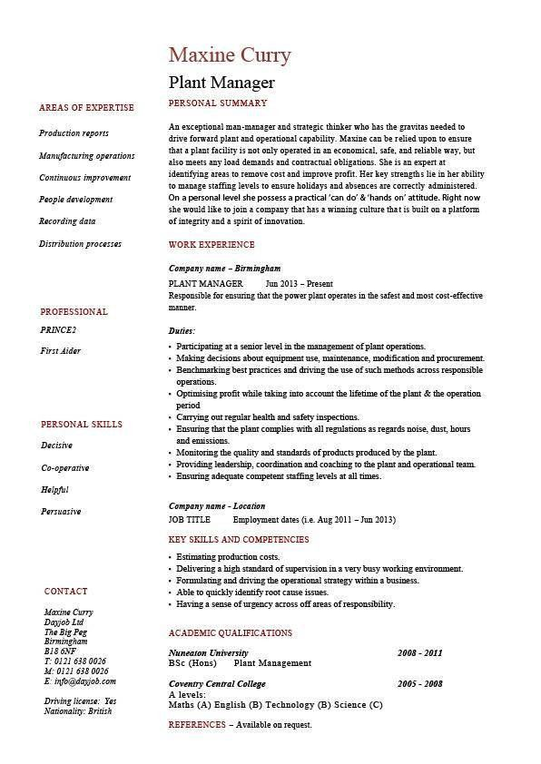 Plant manager resume, production, job description, CV, example ...